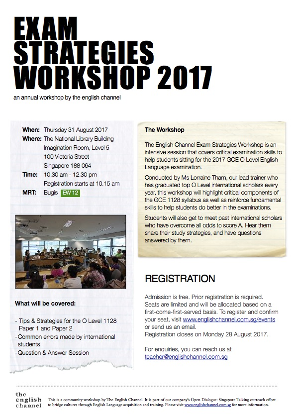 o level english exam strategies workshop august 2017 flyer