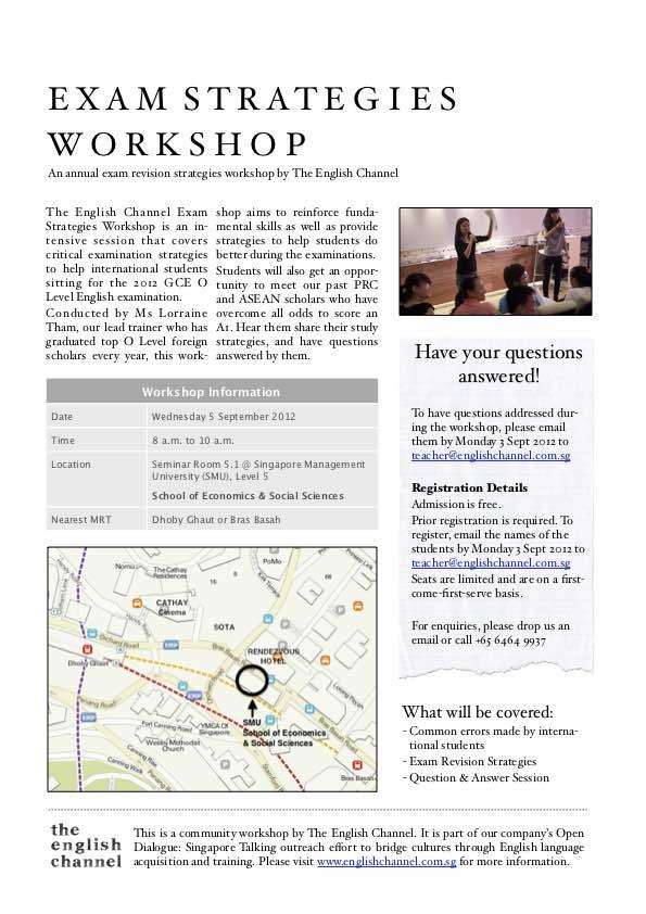 O Level English Exam Strategies Workshop 2012