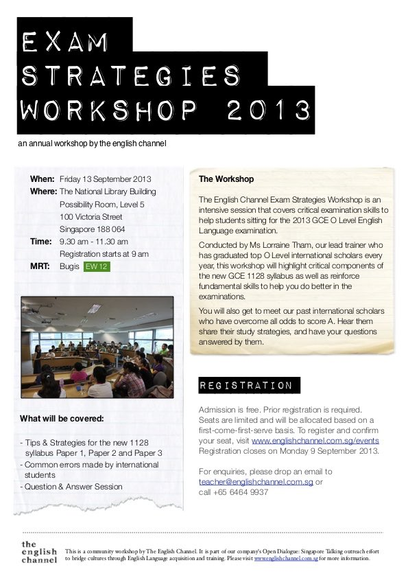 O Level English Exam Strategies Workshop