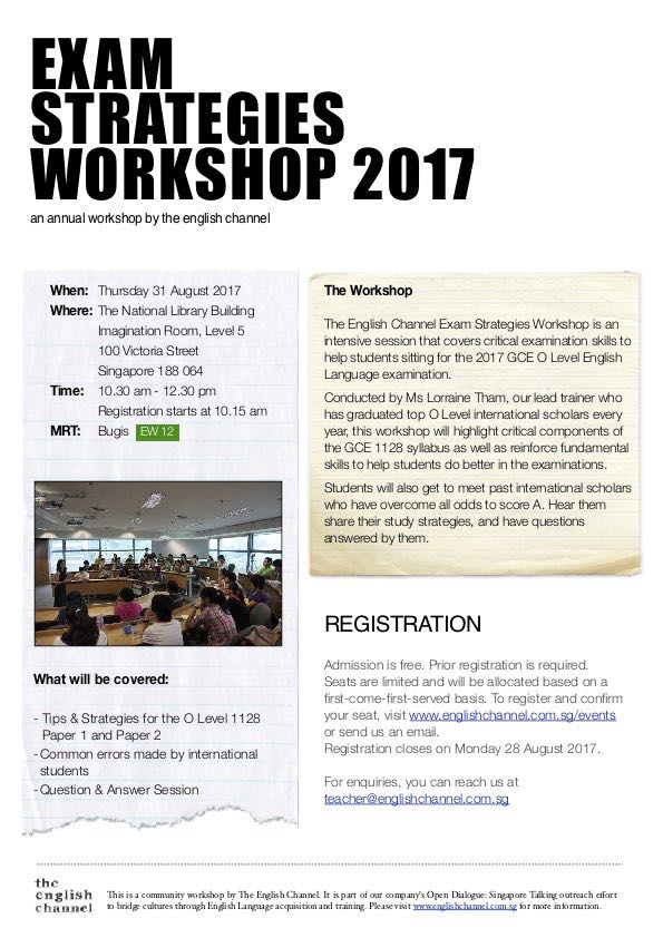 O Level English Exam Strategies Workshop 2017